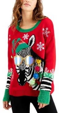 Hooked Up by IOT Juniors' Zebra Holiday Sweater