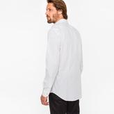 Paul Smith Men's Tailored-Fit White 'Heart' Print Cotton 'Artist Stripe' Cuff Shirt