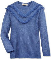 Pink Rose Fringe-Trim Sweater, Big Girls (7-16)