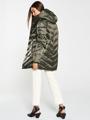 Very Shawl Collar Long Padded Coat - Khaki