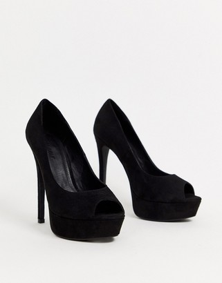 Truffle Collection peep toe platform heeled shoes in black