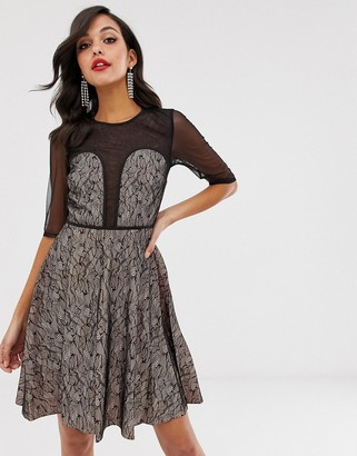 Little Mistress Contrast Lace Prom Dress-Black