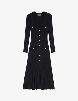 Sandro Jannel button-up knitted dress