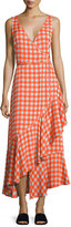 Diane von Furstenberg Sleeveless Asymmetric Ruffle Hem Midi Dress, Red