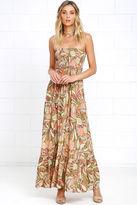 LuLu*s Tropical Tango Coral Orange Floral Print Maxi Dress