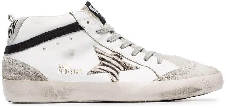 Golden Goose white Mid star leather hi-top sneakers