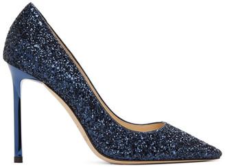 Jimmy Choo Navy Glitter Romy 100 Heels