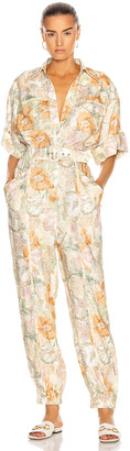 Zimmermann Glassy Wrap Front Jumpsuit in Washed Floral | FWRD