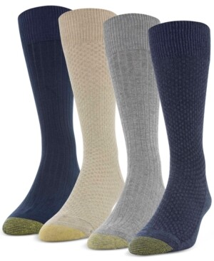 Gold Toe Men's 4-Pack Basket Weave & Rib Socks