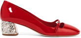 Miu Miu Crystal-embellished Patent-leather Mary Jane Pumps - Red
