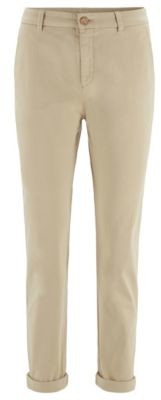 BOSS Regular-fit cropped chinos in stretch-cotton satin