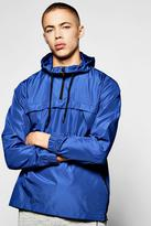 boohoo Blue Over The Head Hooded Cagoule blue