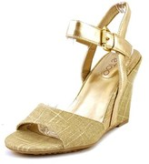 Me Too Lucie12 Open Toe Canvas Wedge Heel.