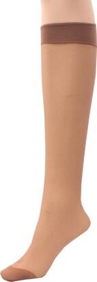 Britwear 3 x Ladies/Women 100% Nylon Knee High Pop Socks with Comfort TopHosiery Size:One Size: Regular Exact Colour:Mink Appearance:15 Denier Appearance