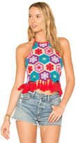 Show Me Your Mumu X REVOLVE Dylan Crop Top in Red. - size L (also in M)