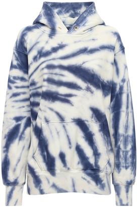 LES TIEN Cropped Tie Dye Cotton Sweatshirt Hoodie