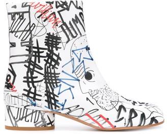 Maison Margiela Tabi graffiti-print boots