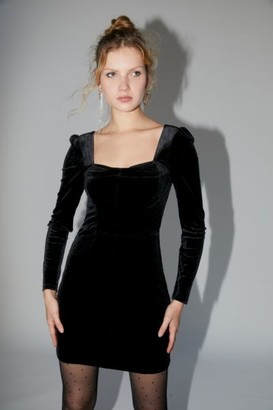 Urban Outfitters Velvet Long Sleeve Mini Dress