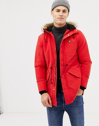 Lyle & Scott fleece lined hooded parka with faux fur trim in red