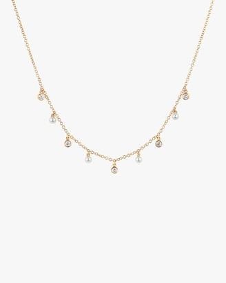 Ef Collection Diamond Pearl Station Necklace