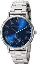 French Connection Men's Quartz Watch with Blue Dial Analogue Display and Silver Stainless Steel Bracelet FC1259USM