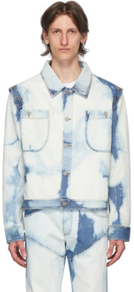 Telfar Blue and White Denim Bleached Detachable Sleeves Jacket