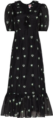 Shrimps Oakley floral-embroidered midi dress
