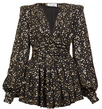 ATTICO Metallic Star-print Crepe Mini Dress - Black Gold