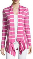 Neiman Marcus Striped Cashmere Waterfall Cardigan