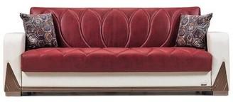 Bugatti Orren Ellis Convertible Sleeper Sofa, Red/White Orren Ellis Upholstery Color: Red