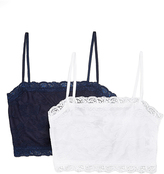 Pure Style Girlfriends Navy & White Floral Lace Wireless Cami Bra Set - Plus Too