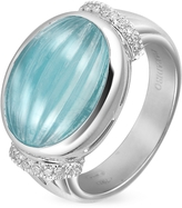 Tagliamonte Roma Imperiale Carved Aquamarine and Diamond 18K Gold Ring