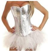 Zhitunemi Women's Sequins Corset Leather Burlesque Bustier with Tutu Large