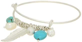 Luxe Silver Turquoise Feather Bangle