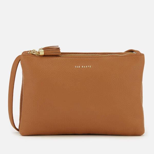Ted Baker Women's Maceyy Tassle Double Zipped Cross Body Bag - Tan