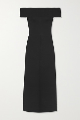 Victoria Beckham Off-the-shoulder Jersey Midi Dress - Black