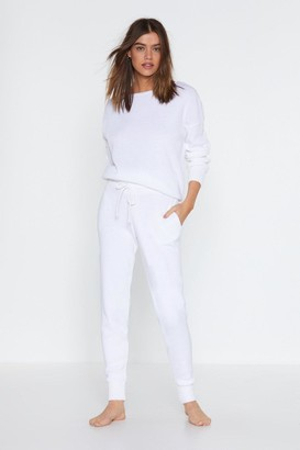 Nasty Gal Womens Cream Sweater And Matching Joggers Lounge Set