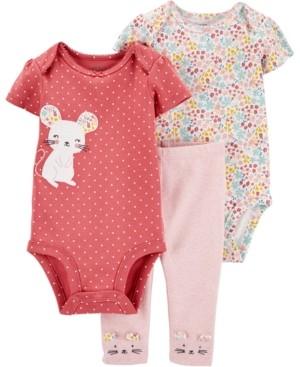 Carter's Baby Girls 3-Pc. Little Mouse Cotton Bodysuits & Pants Set