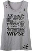 So'each Women's I'm A Nurse Letters Graphic Sexy Hole Tee T-Shirt Cami Tank Top
