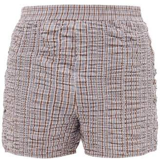 Bianca Saunders - Ruched Checked Cotton Shorts - Mens - Light Brown