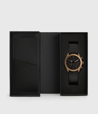 AllSaints Subtitled V Khaki Stainless Steel and Black Leather Watch
