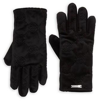 Karl Lagerfeld Paris Quilted Velvet Gloves