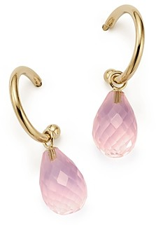 Bloomingdale's Rose Quartz Briolette Hoop Drop Earrings in 14K Yellow Gold - 100% Exclusive