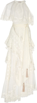 Zimmermann Bowerbird Lovers Lace-Paneled Fil Coup Silk-Blend Gown