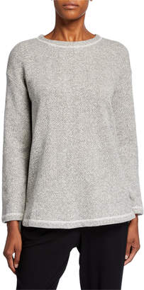 Eileen Fisher Organic Cotton Twist Terry Crewneck High-Low Tunic