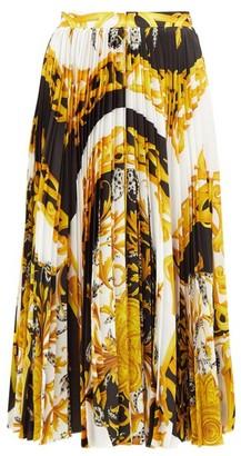 Versace Baroque-print Pleated Satin Midi Skirt - White Multi