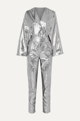 Stand Studio - Pernille Teisbaek Amiya Metallic Faux Leather Jumpsuit - Silver