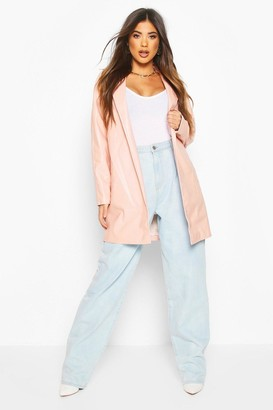 boohoo Leather Look PU Belted Wrap Jacket