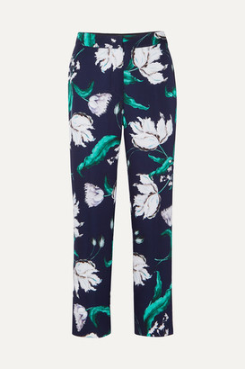 Erdem Giana Floral-print Satin-twill Straight-leg Pants - Navy