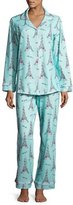 BedHead French Bow Classic Pajama Set, Light Blue, Plus Size